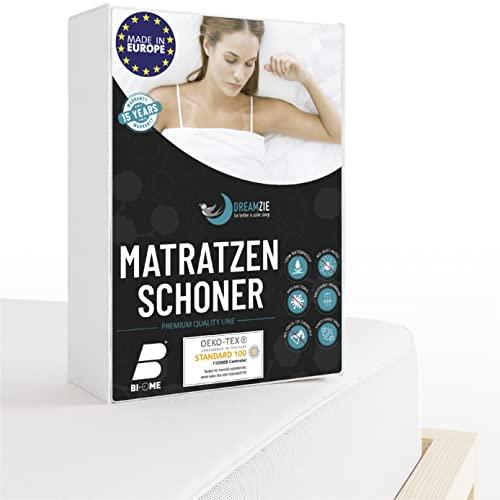 Dreamzie - Matratzenschoner 180 x 200 cm Wasserdicht - Atmungsaktive Matratzenauflagen 100% Baumwolle - Matratzen Topper Anti-Allergisch, Anti-Milben & Hygienischer - 15 Jahre Garantie