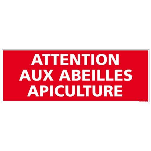 Panneau Attention aux Abeilles Apiculture - Double Face Autocollant au Dos + Protection Anti-UV - Dimensions 210x75 mm - Plastique Rigide PVC 1,5 mm
