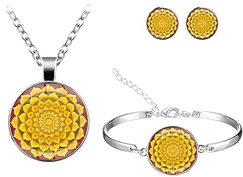 AOAOTOTQ Co.,ltd Collar Mandala Time Collar Set Stud Pendientes Joyas Europa Y América