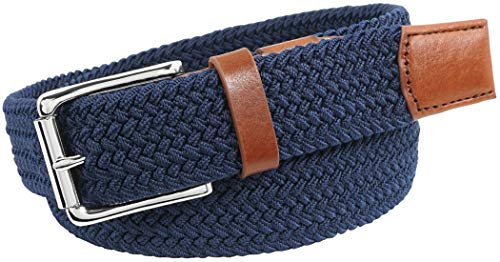 Florsheim Men's Koufax Elastic Woven Casual 35mm Belt, Navy, 44