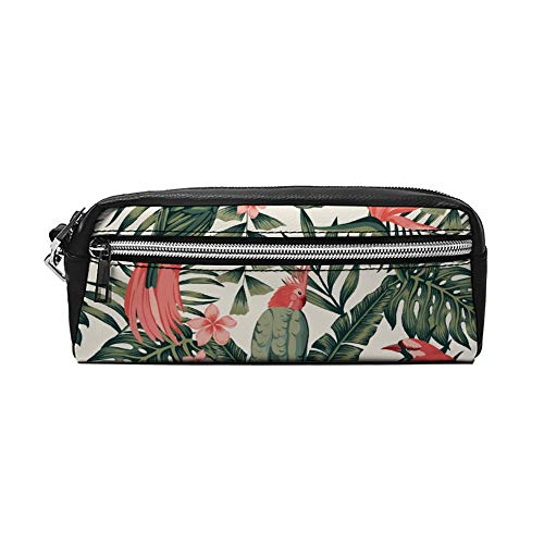 Tropische planten Bloemen Vogels PU Lederen Potlood Case Make-up Tas Cosmetische Tas Potlood Tas met Rits Reizen Toilettas voor Vrouwen Meisjes