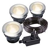 'LARCH' LED-Einbauspot 3er-Set aus Edelstahl, warm weiß,mit Trafo & Kabel