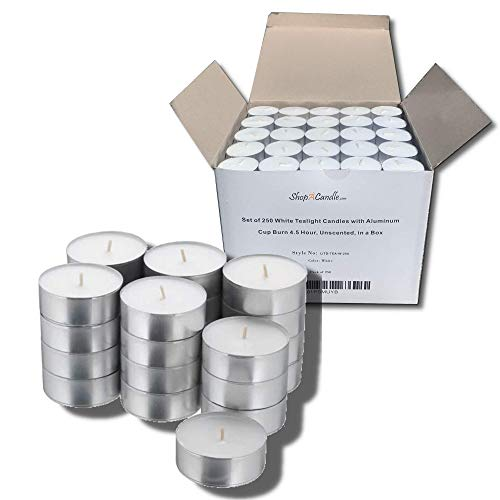 Bulk Set of 250 Tealight Candles in Metal Cups (White) 4.5 Hour Burn Time ( Unscented Tea Lights )