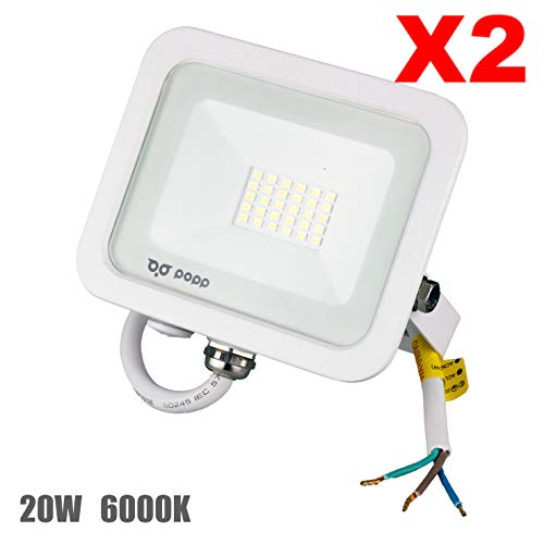 POPP® Foco Proyector LED 20W para uso Exterior Iluminación Decoración 6000K luz fria Impermeable IP65 Blanco transparente y Resistente al agua.PACK x2 (20)