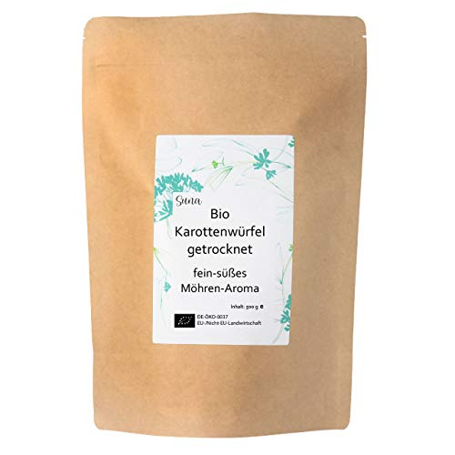 Suna® Bio Karottenwürfel getrocknet | fein-süßes Möhren-Aroma | Großpackung 500 g
