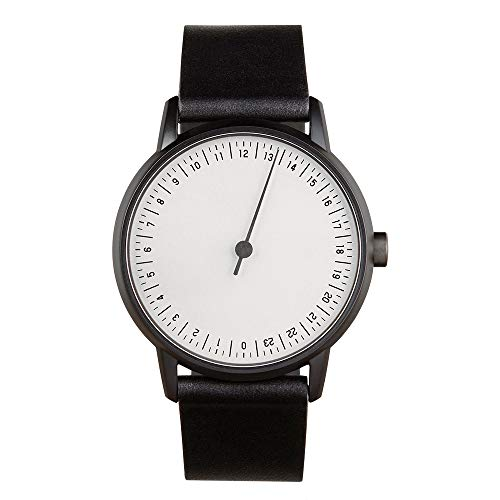 slow Round 12 - All Black Leather, White Dial