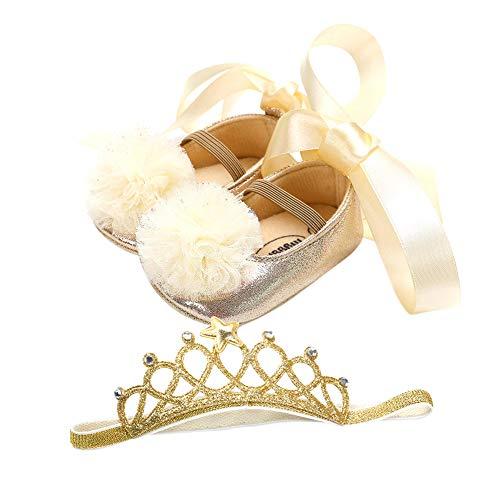 iKulilky Baby Schuhe + Haarschmuck,Kinder Krabbelschuhe Mädchen Schuhe + Stirnband Lauflernschuhe Anti-Rutsch-Weiche Einzelne Kleinkind Schuhe Taufe Hochzeit Party Geschenk (Gold) - 11cm