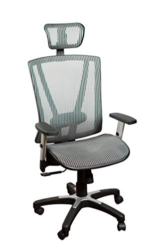 Ergomax Fully Meshed Ergonomic Height Adjustable High Back Office Desk Chair w/Armrests & Headrest, 52 Inch Max, Grey