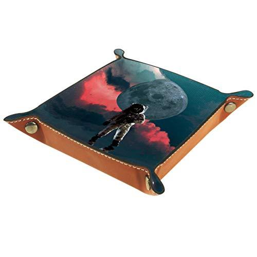 LynnsGraceland Tablett Leder,Astronaut Moon Space NASA Planet Star,Leder Münzen Tablettschlüssel für Schmuck,Telefon,Uhren,Süßigkeiten,Catchall-Tablett für Männer & Frauen Großes Geschenk