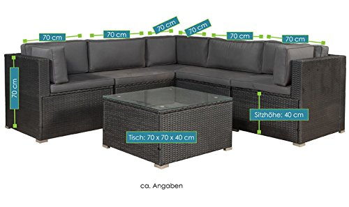 ArtLife Polyrattan Lounge Nassau schwarz | Gartenmöbel-Set mit Ecksofa & Tisch | dunkelgraue Bezüge | Sitzgruppe für Terrasse & Wintergarten - 7