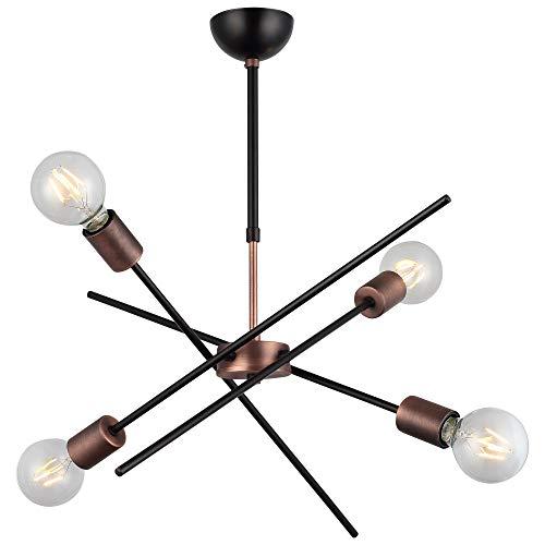 Homemania Lámpara de techo, 100% metal, cobre, negro