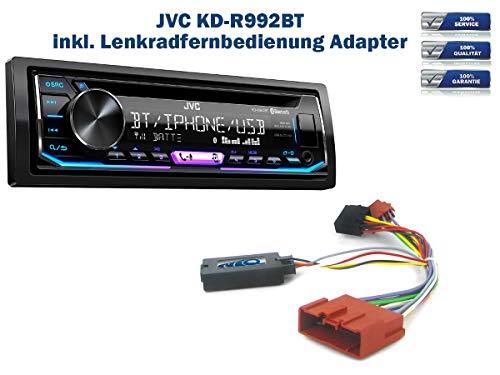 Autoradio JVC KD-R992BT geeignet für Mazda 2 | 5 | MX-5 inkl. Lenkrad Fernbedienung Adapter