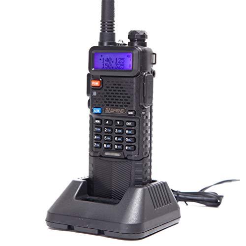 XMZWD Walkie Talkie 8W / 5W / 1W UHF VHF Radio Bidireccional Transceptor Portátil De Doble Banda 128 Número De Canales, para Ciclismo/Camping/Viaje/Excursión (Negro)