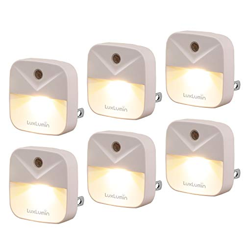 LuxLumin LED Night Light Night Lights Plug into Wall with DusktoDawn Sensor Automatically Turn on and OffNight Light for KidsBedroomBathroomStairsWarm White 6 Packs