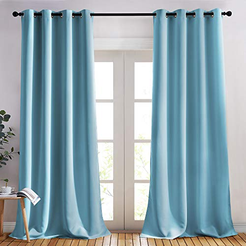 NICETOWN Room Darkening Curtain Panels - (52 inches W x 120 inches L, Teal Blue, 2 Panels) Toddler Boy Bedroom Drapes with Grommet Top, Energy Smart Window Treatment Curtains