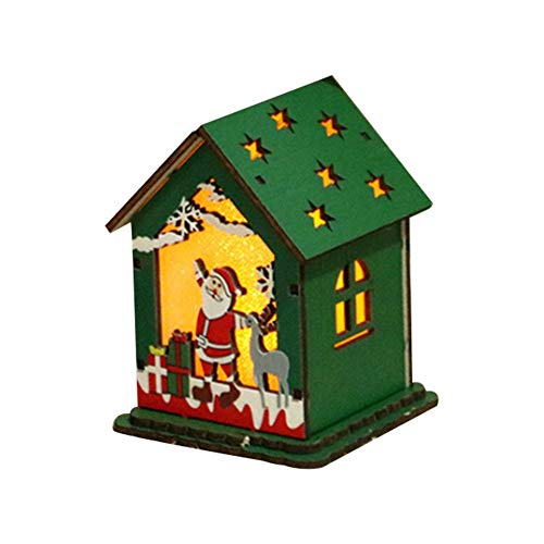 Gorgeousy Innovative LED-Licht Weihnachtsbaum Anhänger, Holzhaus Ornamente mit Licht, leuchtende Dekorationen für Fenster Weihnachtsbaum Wohnzimmer