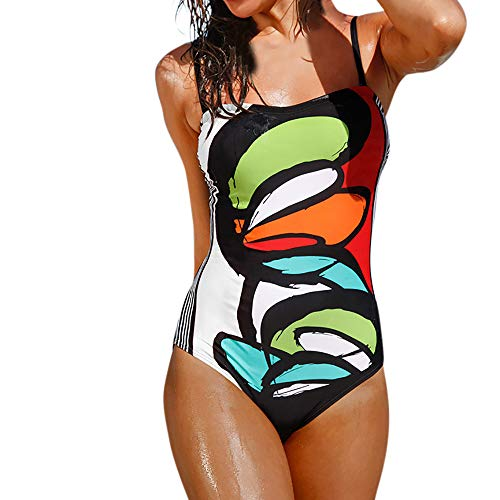 Vectry Damen Einteiler Cami Badeanzug Figurformend Schwimmanzug Mit Performance-Schnitt Racer-Back Sport Bademode Push-Up Gepolsterter Strandmode Tankini Swimwear Sportbadeanzug(Mehrfarbig,XL)