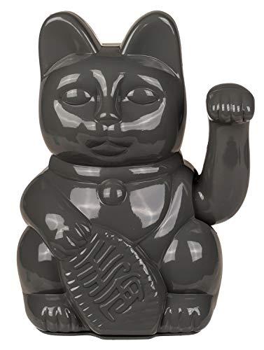 OOTB Gato de ángulo Gris de plástico, Aprox. 20 cm, Tradicional Amuleto de la Suerte de Asia, Funciona con Pilas, en Caja de Regalo