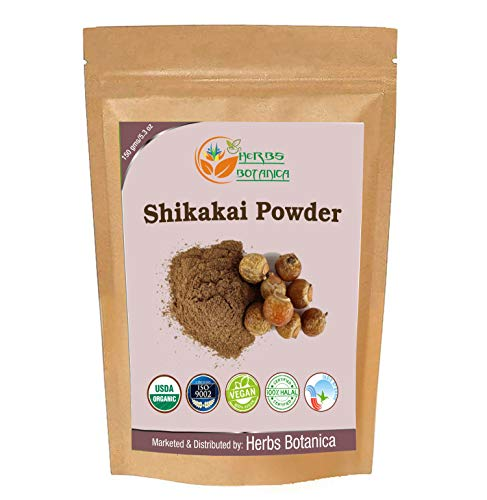 Herbs Botanica Pure Shikakai Powder 150g / 5.5oz 100% Pure Acacia concinna Fruit Pods Powder - Natural Hair Cleanser & Conditioner