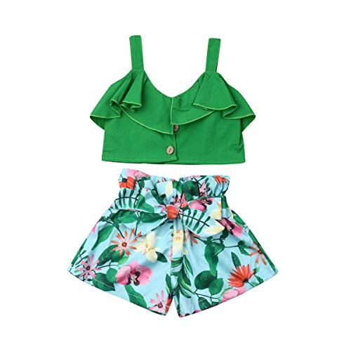 Toddler Baby Girls 2Pcs Set,Kids Ruffle Vest Crop Tops+Floral Wide Leg Pants Summer Outfits (2-3 Years, Green)