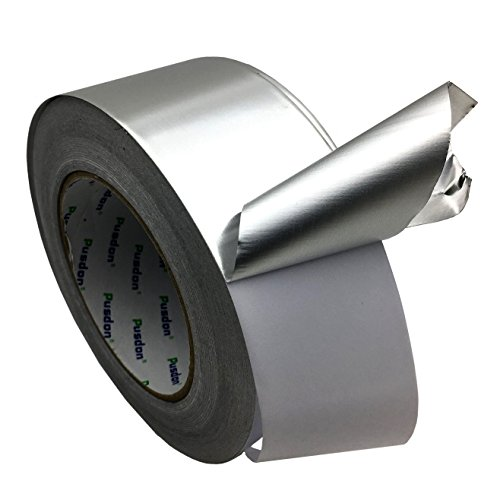 Pusdon Multi-Purpose Aluminum Foil Tape, Silver 2-Inch x 60 Yards - Perfect for HVAC, Pipe Heating Cable Application, Sealing & Patching Hot & Cold Air Ducts, Metal Repair and More Use