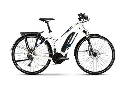 Haibike Sduro Trekking 4.0 - Bicicleta eléctrica para mujer, color blanco/azul, talla...