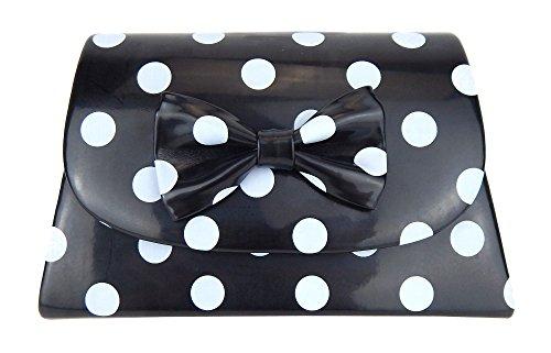 Ella Jonte Tasche schwarz hellgraue Punkte Rockabilly kleine Handtasche gepunktet Retro