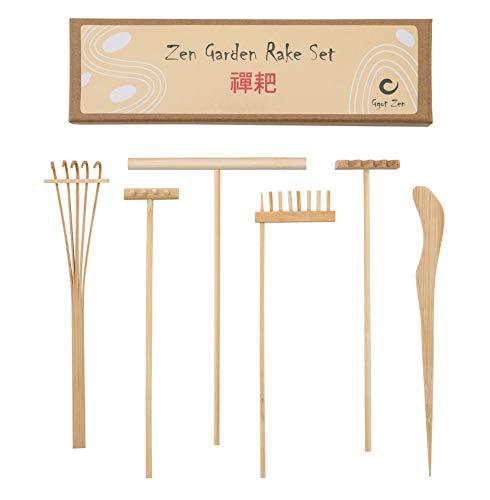 Mini Zen Gartenrechen Bambus Werkzeug Set – Förderung der Gelassenheit und spirituellen Ruhe durch Zen Meditation – 4 x Mini Zen Rechen, 1 x Zeichenstift, 1 x Sand-Pudelstift – tolle Geschenkidee