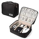 Organizador electrónico de viaje universal organizador de cables accesorios electrónicos, bolsa de almacenamiento para iPad Mini, Kindle, smartphone, cable, cargador, banco de energía, USB, tarjeta SD (negro)