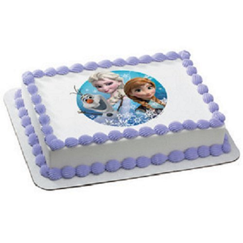 Frozen Olaf, Anna, and Elsa Edible Icing Image Cake Decoration Topper for 8 inch round cake or larger