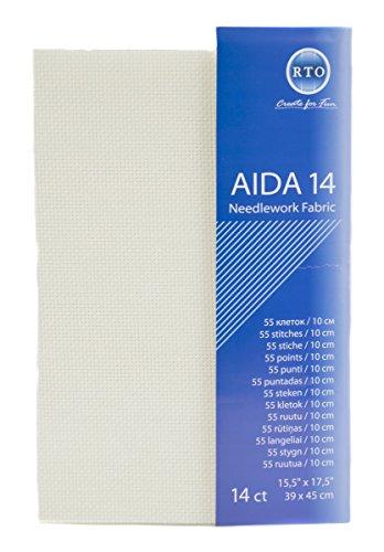 RTO Aida 14 Fils Point de Croix, crème, 39 x 45 cm