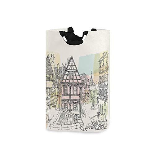 dpcm Cesto de la ropa,Historic Traditional Scene Nuremberg Germany Classical Timber Houses,Cesta de lavado portátil plegable de gran capacidad con asa, bolsa de almacenamiento