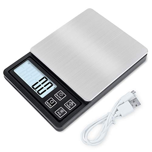 NEXT-SHINE Rechargeable Digital Kitchen Scale Pocket Size Gram Food Scale 600g x 0.01g with LCD Display USB Charged for Cooking Baking Jewelry