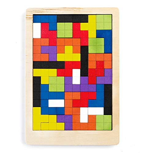 all Kids United 3D Holz-Puzzle Jigsaw Kinder-Spielzeug Pädagogisches Denkspiel Tetris Holzpuzzle mit Bausteinen