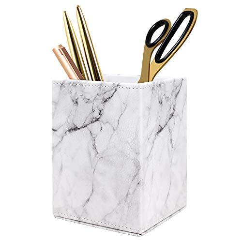 WAVEYU Marble Pen Pencil Holder for Desk, Pencil Holder Decor or Desk Multi Purpose Use Pencil Cup Pot Desk Organizer, Pen Holder for Women Girls, (Square Marble)