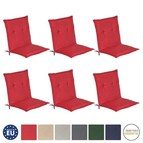 Beautissu 6er Set Loft NL Niedriglehner Auflagen Set 100x50 cm Sitzkissen niedrig Gartenstuhlauflage Schaumkern-Füllung Kissen Rot mit Oeko-Tex - UV Lichtecht