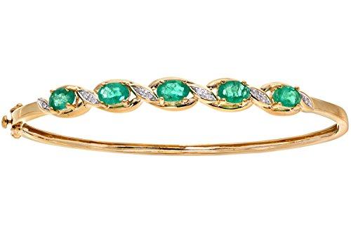 Naava Women's 9 ct Yellow Gold Diamond and Prong Set Emerald Bangle