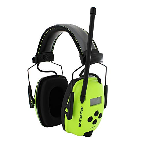 Howard Leight by Honeywell Sync Hi-Visibility Digital AM/FM Radio Earmuff (1030390),Bright Yellow/Green