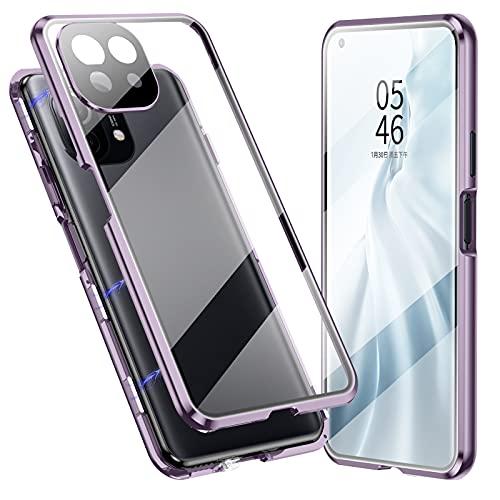 Jonwelsy Cover per Xiaomi Mi 11 Lite, Adsorbimento Magnetico Paraurti in Metallo con 360 Gradi Protezione Case Doppi Lati Trasparente Vetro Temperato Flip Custodia per Xiaomi Mi 11 Lite (Viola)