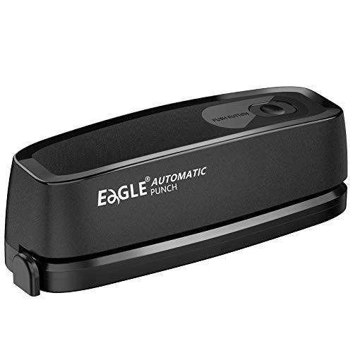 Electric Hole Punch Eagle Desktop 3 Hole Puncher ForceSaving 20Sheet Capacity AC or Battery Operated Paper Punch 3 Ring Effortless Hole Puncher for Paper Home and Office Supplies Black
