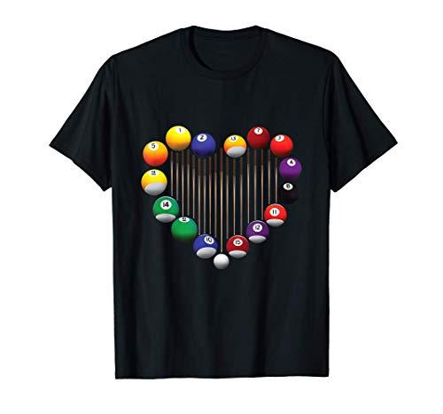 Billiard Pool Billiard Ball Billiard player lover heart men T-Shirt