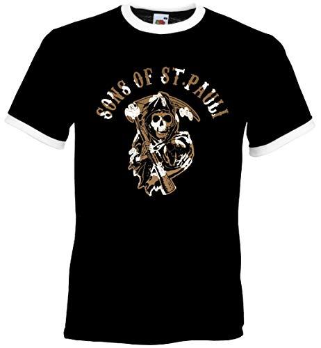 St. Pauli Herren Retro T-Shirt Sons of Sankt Pauli Ultras Braun-Weiss Aufdruck Neu Schwarz XL