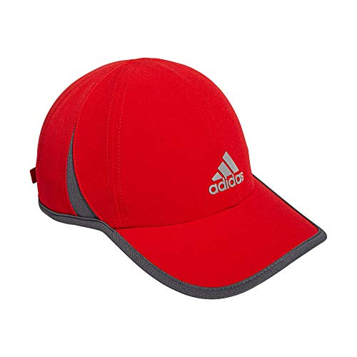 adidas Men's Superlite Relaxed Adjustable Performance Cap, Vivid Red/Onix/Silver Reflective, One Size
