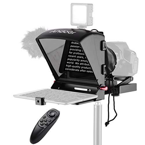 Andoer A1 universeller tragbarer Teleprompter mit Fernbedienung, kompatibel mit Smartphone/Tablet/DSLR-Kamera, zur Videoaufzeichnung von Live-Streaming-Interviewpräsentationen usw.