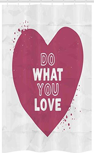ABAKUHAUS Hou van wat je doet Douchegordijn, Hart met oud papier Effect, voor Douchecabine Stoffen Badkamer Decoratie Set met Ophangringen, 120 x 180 cm, Gedroogde Rose en White