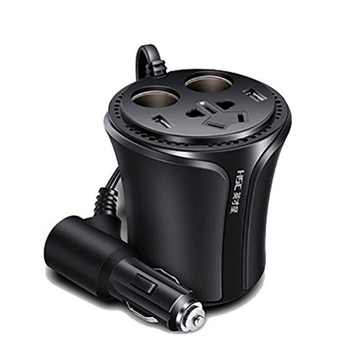 QINUO Auto Convertisseur Électrique 150W, du 12V Au 230V, avec Un USB Port De 5V 2.1A, Idéal pour Voyage De Voiture Et Vacance Utilisant Les Appareils Électroménagers Et Électroniques
