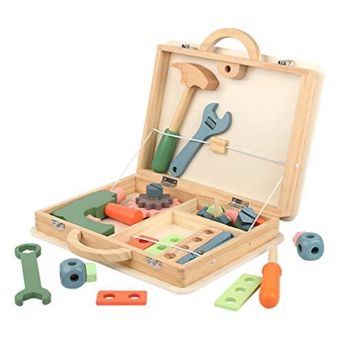 STOBOK 1 juego de caja de herramientas de madera para niños, juguete educativo de construcción, juego de juguetes de rol, accesorios para juegos de finción para niños.