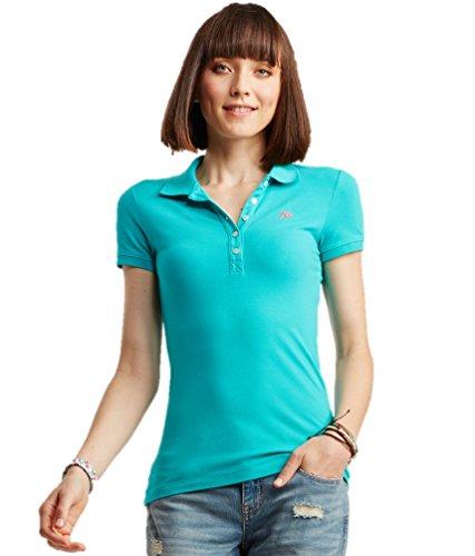 AEROPOSTALE Women's Polo Shirt Large Lt Teal w Pink 110