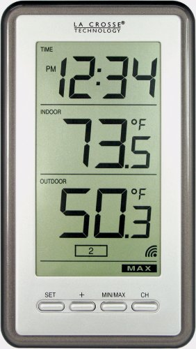 La Crosse Technology Indoor/Outdoor Temperature WS-9160U-IT Digital Thermometer, Titianium