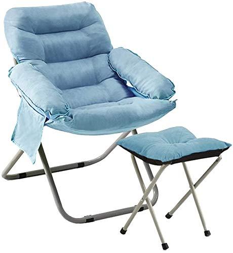 Mopoq Silla Baja Hamaca Simple con reposapiés Individual Balcón Tumbona Altura Ajustable sillón con Bolsa de Almacenamiento Lateral for Estudio Dormitorio (Color : Azul)